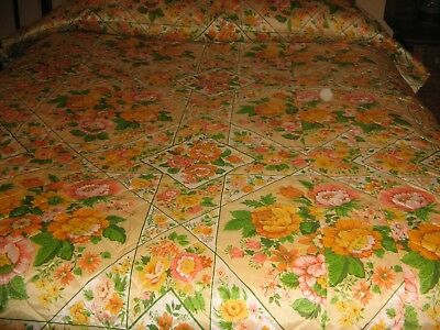 Vintage Mid Century Quilted Bedspread Fabric Orange Floral  Mod 60's 70's Cutter