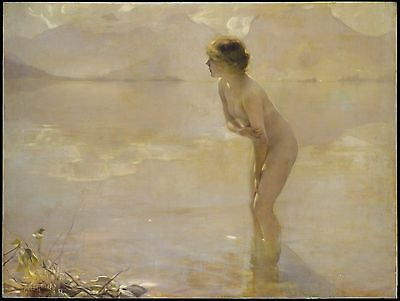Paul Chabas, September Morn, Beautiful nude girl, antique decor, 20x16 Art Print