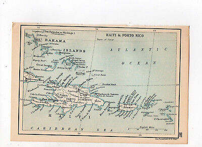C1920 Antique Map Of Haiti & Porto Rico John Bartholomew