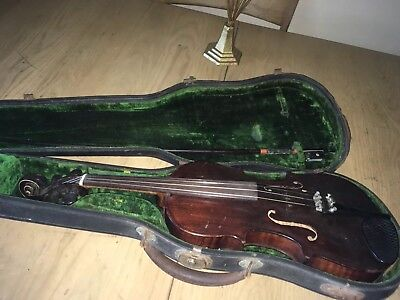 Antique Violin & Bow Bausch Estate  Instrument In Case Lovely
