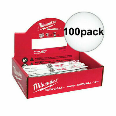 9 in 100 Count Milwaukee 48-01-7188 18 TPI Thin Kerf SAWZALL Blades