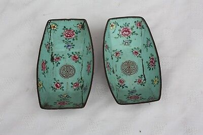 Pair of 19th Century Chinese Canton Enamel Dishes