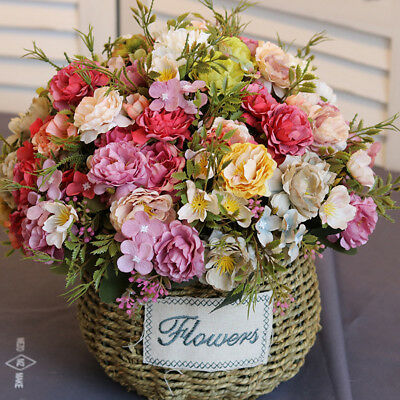 1 Bouquet 10 Heads Artificial Peony Silk Flower Home Wedding Party Decor Noted