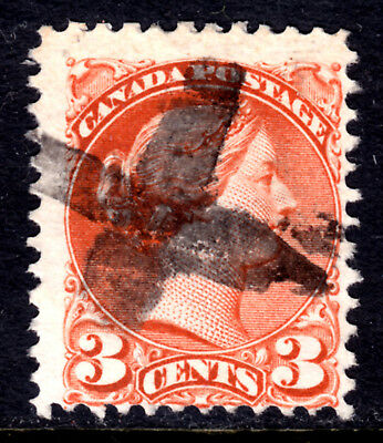 CANADA LACELLE-1049 FANCY CORK on #37iii 3c ORANGE RED, 1872 SQ PERF11½x12, VG