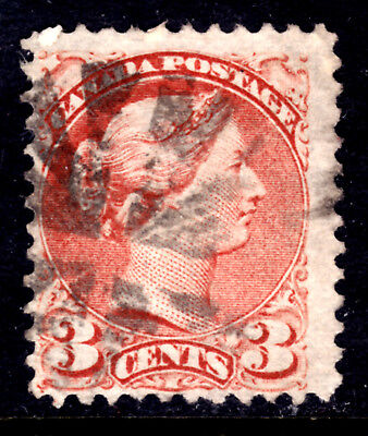 CANADA LACELLE-1526 FANCY CORK on #37c 3c DULL RED, 1872 SQ, F