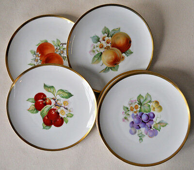 Hutschenreuther Selb PASCO Fruit Plates Set Of 8 Gold Trim Bavaria Germany