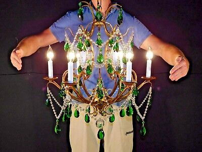 ANTIQUE Italian Tole Birdcage Glass Beaded Emerald Green Crystal Gilt Chandelier