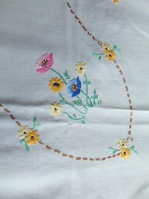 "Vintage Cream Linen Square Tablecloth Hand Embroidered Floral Design 33"" Square"