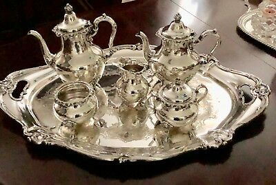 Gorham Sterling Silver Strasbourg 5 Piece Tea & Coffee Set With Tray