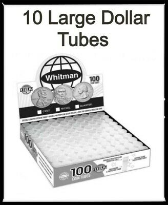 10 Crystal Clear Tubes For Quarter Coins Safe Storage High Quality Harris USA