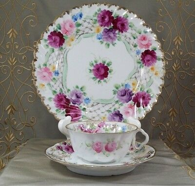 ANTIQUE Porcelain CUP, SAUCER, & PLATE Red Roses GOLD TRACERY OLD