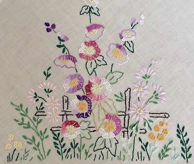 Vintage Pretty Hand Embroidered Linen Table Cloth Flowers at the Garden Fence
