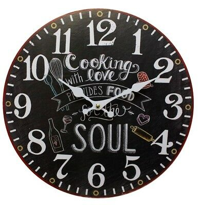 Lovely Retro Style Cooking With Love 34cm Large Wooden Wall Clock Kitchen Home