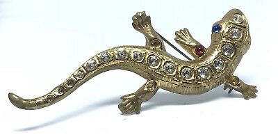 Vintage Gold Tone Gecko Rhinestone Brooch Egyptian Revival Missing Stones