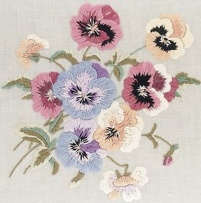 Vintage Hand Embroidered Pansies Table Cloth Lace Trim