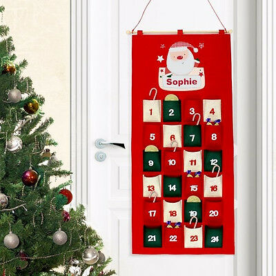 Personalised Felt Pocket Advent Calendars Add Childs Name Boys and Girls