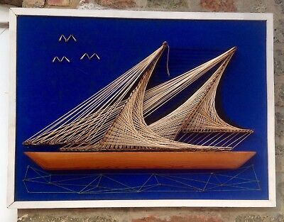 Large Vintage Retro String And Nail Picture Of Sailing Ship With Wooden Hull