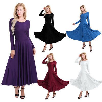 Women Ladies Liturgical Praise Tango Long Dress Elegent Fit Ballroom Dance Dress