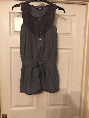 Girls Playsuit Blue Chambray Age 10 Next