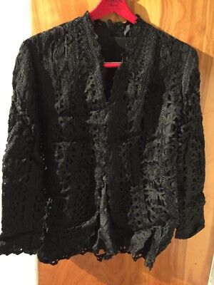 Antique California Victorian Black Embroidered Chantilly Lace Blouse Medium