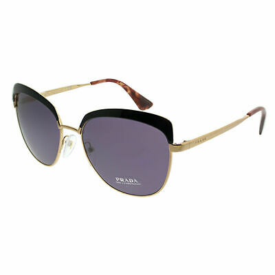 89cffc0432 Prada PR 51TS LAX6O2 Black Antique Gold Metal Cat-Eye Sunglasses Violet Lens