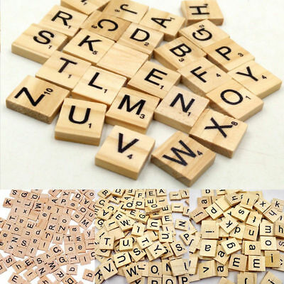 100x Wooden Scrabble Tiles Alphabet Letter Number Crafts Wood Board Decor Toys
