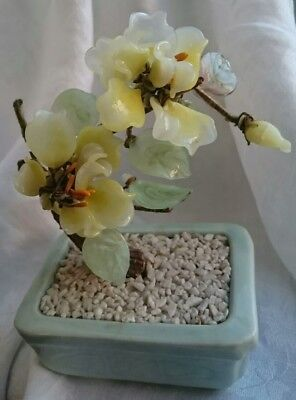 Chinese Celadon Green Pot Jade and Yellow Glass Bonsai Blossom Tree