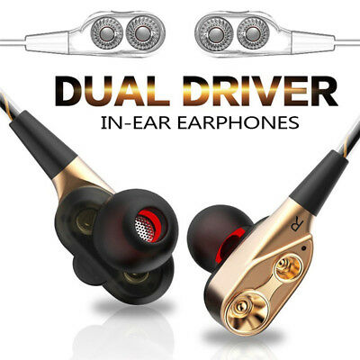 Dual Dynamic Driver In-Ear Earbud Headphones Inline Controls Earphones for phone