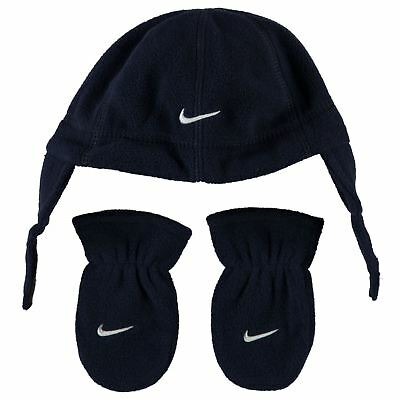 d11cfc146 Nike Boys Trapper Hat   Mittens Set Fleece Navy Infants Age 12 to 24 Months  New