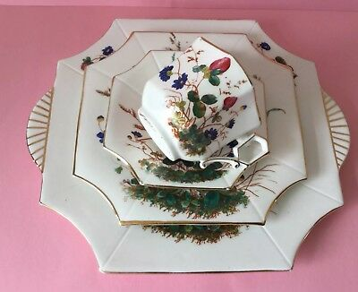 Antique Wileman Pre-Shelley Clover 3613 - Rare Square Queen Ann Cup c1886