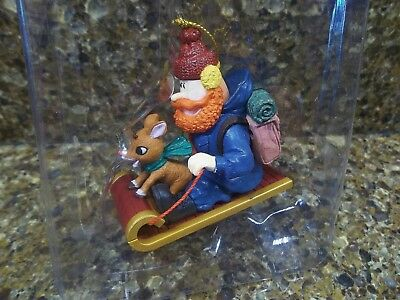 New ENESCO Rudolph & YUKON CORNELIUS Sledding CHRISTMAS ORNAMENT on sled RARE