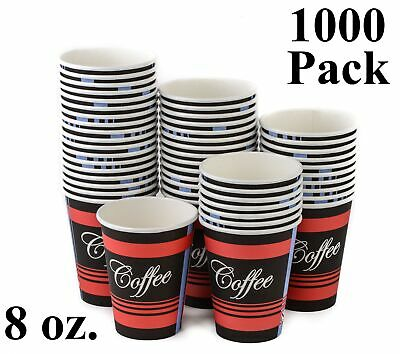 1000 Pack 8 Oz. Eco Friendly Poly Paper Disposable Hot Tea Coffee Cups No Lids
