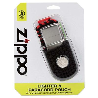 Zippo Lighter and Paracord Pouch Set Street Chrome Finish New in Box Gift
