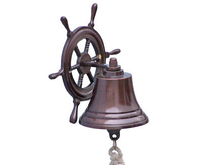 "Copper Finish Solid Aluminum Bell 6"" w/ Ship's Steering Wheel Bracket Wall Decor"