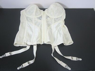 Vtg Lady Marlene Corset with Garters Womens Size 40C Ivory Lace Boning Zip/Hook