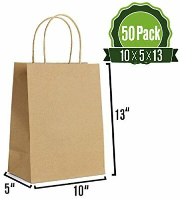 Brown Kraft Paper Gift Bags With Handles 50 Pcs 10x5x13 Shopping
