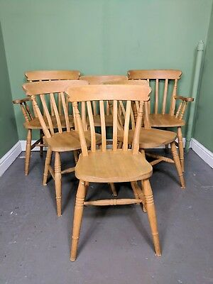 An Antique Style Beech/Pine Set of 6 Farmhouse Dining Chairs Delivery Available~