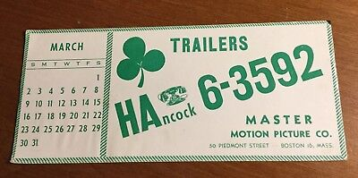 Vintage TRAILERS MASTER Motion Picture Co. Boston w/clover BLOTTER