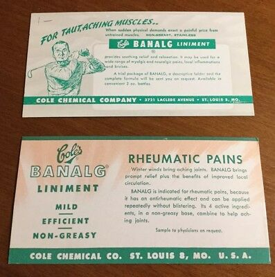 Two BANALG LINIMENT Blotters COLE CHEMICAL CO. U.S.A