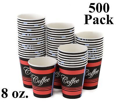 500 Pack 8 Oz. Eco Friendly Poly Paper Disposable Hot Tea Coffee Cups (No Lids)