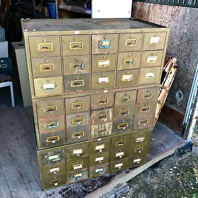 Vintage Industrial Metal Globe Wernicke Style Stackable Cabinet - Card Catalog