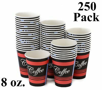 250 Pack 8 Oz. Eco Friendly Poly Paper Disposable Hot Tea Coffee Cups (No Lids)