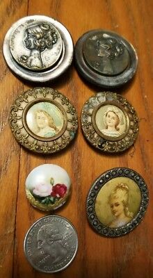 Vintage Buttons Metal Picture Portrait Hand Painted metal on mop