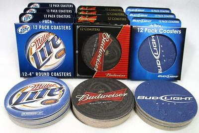 Lot Of 144 Miller Lite Bud Light Budweiser Bar Coasters Pub Pool Beer Party A-19