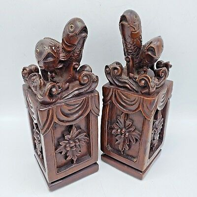 Pair of Vintage Carved Wood Japanese Chinese Asian Koi Fish Pedestals / Bookends