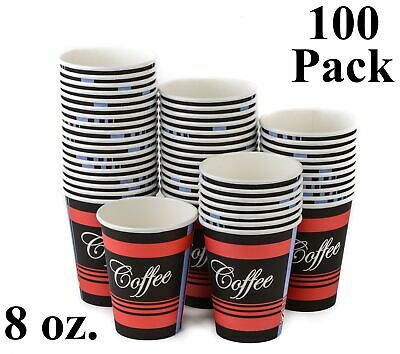 100 Pack 8 Oz. Eco Friendly Poly Paper Disposable Hot Tea Coffee Cups (No Lids)