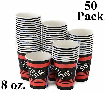 50 Pack 8 Oz. Eco Friendly Poly Paper Disposable Hot Tea Coffee Cups (No Lids)