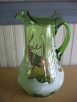 "Mary Gregory style Glass Pitcher 10"" hand blown & painted DEER MOOSE SNOW TREES"