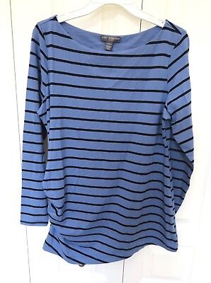 Women's A Pea In The Pod Maternity Shirt Long Sleeve Top NEW Size Large Blue Blk
