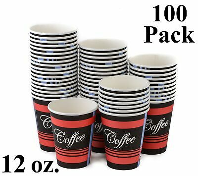 100 Pack 12 Oz. Eco Friendly Poly Paper Disposable Hot Tea Coffee Cups No Lids